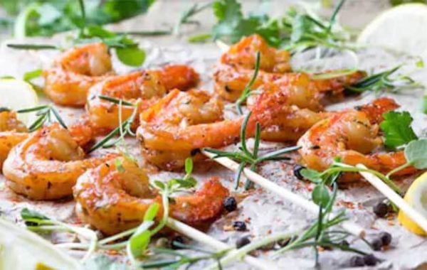 Cold Buffet Catering Grilled King Prawn Skewers